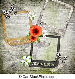 foto encuadra, en, el, viejo, papel, con, flores