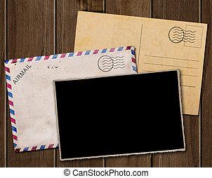 foto, envelope., antigas, cartão postal