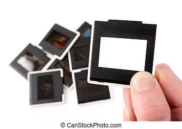 foto, escorregar, frame., 35mm.
