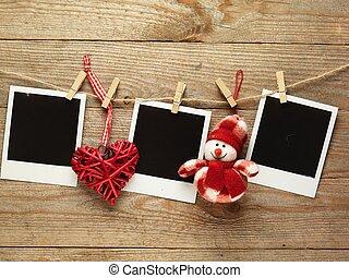foto, espaço, madeira, vindima, natal, tábua, fundo, texto, bordas, decorado, seu