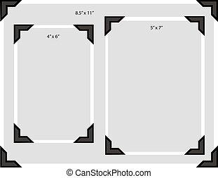 foto, esquinas, tamaños