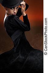 foto, estilo, Moda, dama, bailando