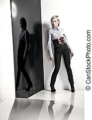 foto, estilo, Moda, dama, joven