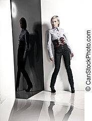 foto, estilo, moda, senhora, jovem