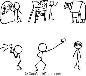 foto, evoluzione, vettore, bastone