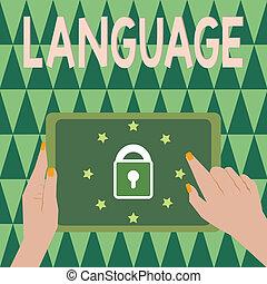foto, falado, huanalysis, mostrando, language., sinal, método, texto escrito, um, palavras, comunicação, conceitual, consistindo