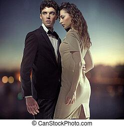 foto, fantástico, grande, pareja, elegante