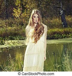 foto, fata, donna, romantico, foresta