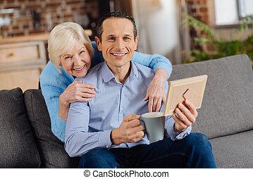 foto, figlio, dall'aspetto, mentre, proposta, madre, incorniciato, felice