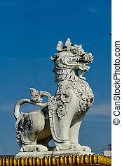 foto, fondo, fronte, palazzo, cinese, statua, digitale, immagine, leone