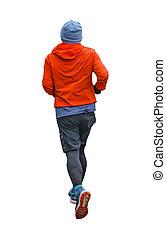 foto, freigestellt, zurück, rennender , mann, ansicht