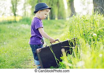 foto, fuga, mala, pequeno, tentando, criança