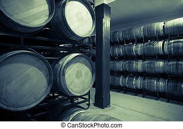 foto, gammal, källare, vin, årgång
