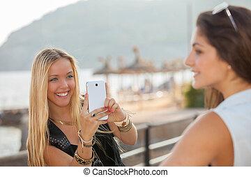 foto, generico, presa, telefono, adolescenti, far male