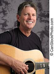 foto, gitarrist, 4, fällig, mann, bestand