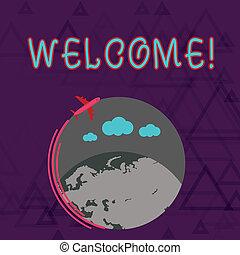 foto, globe, leeg, begroeting, vliegtuig, zakelijk, vliegen, thanked, schrijvende , aantekening, tekst, welcome., iemand, amiable, ongeveer, kleurrijke, het tonen, space., warme, gehouden van, acknowledgement, showcasing