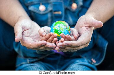 foto, globe, meiden, holdingshanden, aarde, man
