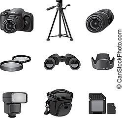foto, grigio, set, congegni, icona