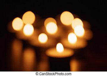 foto, heraus, Fokus, brennender, Kerzen