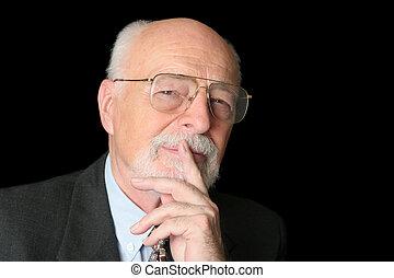 foto, hombre mayor, inteligente, acción