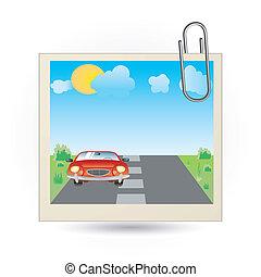 foto, icona, macchina rossa