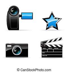 foto, icona, video, set