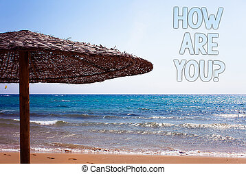 foto, idéia, mensagem, seu, azul, paisagem., céu, guarda-sol, escrita, nota, como, pedir, saúde, tu, praia, estado, vida, negócio, mostrando, question., água, aproximadamente, natural, areia, showcasing