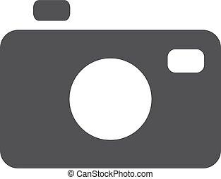 foto, illustrazione, fondo., vettore, nero, bianco, macchina fotografica, icona