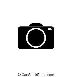 foto, illustrazione, vettore, sfondo nero, icon., macchina fotografica, bianco