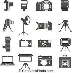 foto, isolado, cobrança, equipamento, sillhouettes, branca