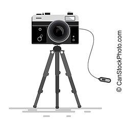 foto, isolato, treppiede, vettore, retro, fondo, bianco, ...