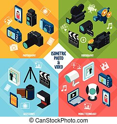 foto, isometrico, set, video
