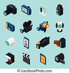 foto, isometrico, video, icone