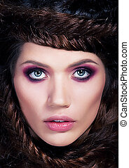 foto, -, jovem, marrom-brown-haired, retrato, modelo,...