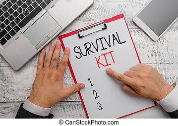 foto, kit., zakelijk, verzameling, noodgeval, showcasing, uitrusting, items, aantekening, schrijvende , voortbestaan, iemand., helpen, het tonen