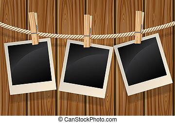 foto, klädstreck, hängande
