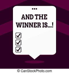 foto, konkurrens, top., pucklat på, flytande, balloon, vinnare, tre, skrift, anteckna, anförande, is., fik, vit, examen, affär, visande, hål, kungör, plats, showcasing, eller, första