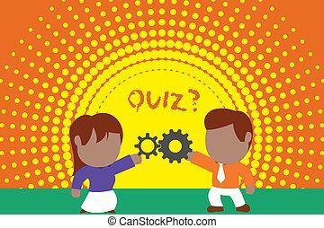 foto, konkurrenz, teilen, quiz, rock, kenntnis, junger, schreibende, merkzettel, relation., zwischen, pr�fung, schlips, paar, frau, ausrüstung, geschaeftswelt, ausstellung, question., mann, mannschaften, einzelpersonen, showcasing, oder