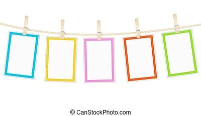 foto, koord, vector, hangend, lijstjes, clothespins.