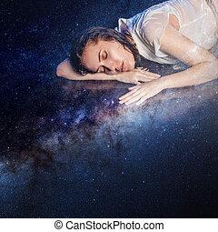 foto, kunst, jonge vrouw , dromen, om te, starry, sky., communie, van, dit, beeld, gemeubileerd, door, nasa.