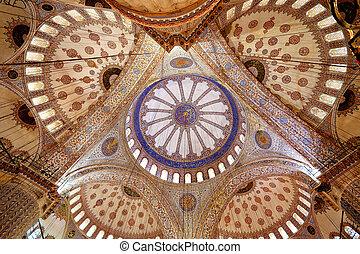 foto, kupol, in, den, turkisk, moské