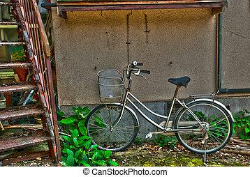 foto, ländlich, japan, hütte, mit, fahrrad
