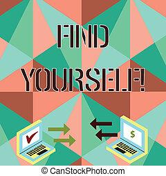 foto, laptop, achar, sinal, moeda corrente, selfsufficient, cheque, ícones, coisas, dois, escrita, entre, conceitual, negócio, mostrando, icons., mão, você mesmo, yourself., seta, showcasing, tornar-se