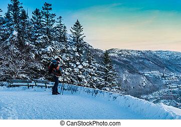 foto, levando, paisagem inverno, fotógrafo
