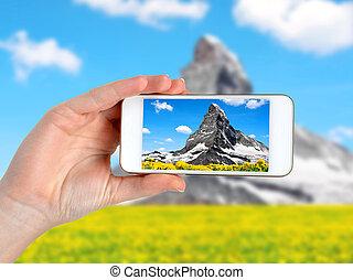 foto, levando, smartphone.
