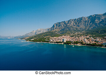 foto, luftaufnahmen, brummen, makarska, kroatien