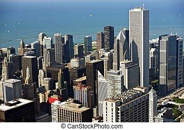 foto, luftaufnahmen, chicago