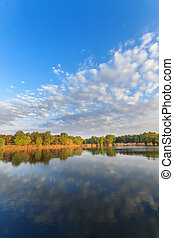 foto, mañana, lago, verano