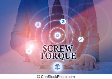 foto, maatregel, spinnen, strengeling, kracht, tekst, nut., torque., conceptueel, noodzakelijk, het tonen, meldingsbord, schroef