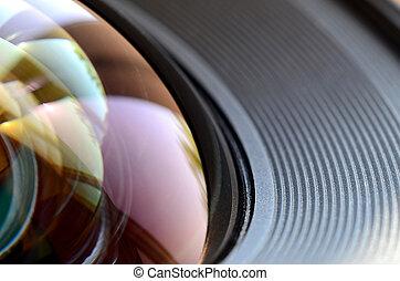 foto, macro, lente, fotografo, uomo macchina fotografica, lavoro, concetto, vista., su, o, chiudere